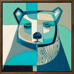 """""""Into the Blue"""" Art Show Opening this Friday, June at the Village Theatre Art Gallery in Danville, CA. Swipe for details. Abstract Animal Art, Original Artwork, Original Paintings, Geometric Bear, Cubism Art, Zen Art, Animal Paintings, Cubist Paintings, Tapestry Weaving"""