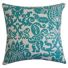 Alicia Pillow - Filled with plush feather and down, this damask-print pillow adds a pop of style to your bed or sofa.