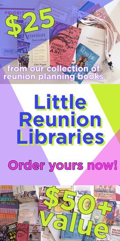 Hundreds of reunion planning ideas! Start your own reunion planning Little Reunion Library! A box filled with books (5), assorted Reunions magazines (at least 10) and surprises (while they last). Ideal holiday gift for yourself or other planners! $25 ($50+ value); free shipping. Order now!