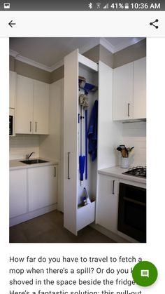 "Get wonderful pointers on ""laundry room storage diy cabinets"". They are actually accessible for you on our web site. Informations About Sliding Home Organizers for Mops Diy Kitchen Storage, Laundry Room Organization, Diy Storage, Storage Ideas, Clothing Organization, Storage Shelves, Laundry Shelves, Fridge Storage, Clothing Racks"