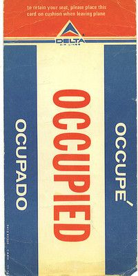 Vintage 1976 Delta Airline Occupied Seat Reserved Tag
