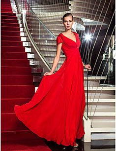TS Couture® Formal Evening / Military Ball Dress - Elegant Plus Size / Petite Sheath / Column V-neck Floor-length Chiffon with Beading / Criss Cross – USD $ 109.99