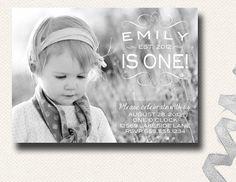 First Birthday Photo Card Invitation Girl Vintage Label Typography