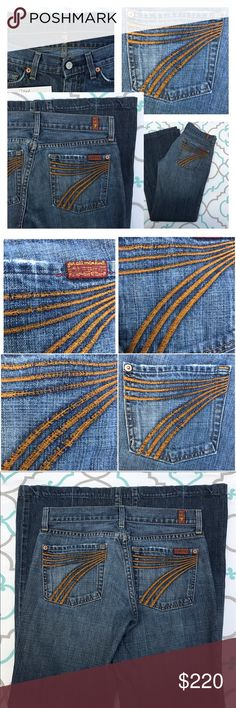 """💙👖Orange 7FAM Dojos👖💙27 3/4 30"""" PRELOVED! GUC! 💙👖Orange 7's 7 For All Mankind Dojos!👖💙 Size 27 (3/4). 30"""" Inseam. 8"""" Rise. 14.5"""" Across Back. 100% Cotton! NO Stretch! Faded Medium/Dark Blue Wash. Light Fading. Light Wear & Factory Distressing. Threading on Orange 7s is distressing and undone some throughout the embroidery. Still Very Cute Jeans. Just need TLC when laundering. ; ) Feel free to zoom in on the photos to see the details up close. 7 FAM! Anthropologie! Ask me any…"""