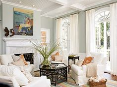 living room...love the pale gray walls...