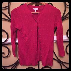 A Pea in the Pod Sweater Bright red cable knit sweater. A Pea in the Pod Sweaters Cardigans