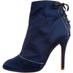 Marc Jacobs Lace-Up Ankle Boots (255 CAD) ❤ liked on Polyvore featuring shoes, boots, ankle booties, blue, lace-up ankle booties, blue booties, lace-up bootie, laced booties and round toe boots