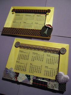 handmade calendar ~ with fabric leftover n other accessories