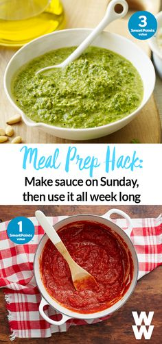 Meal prep hack: Cook up a pot of sauce on Sunday and use it on your dinners all week long (on pasta, chicken, meatballs ...). Tap for two delicious recipes- tomato + pesto!