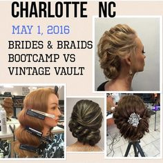 CHARLOTTE NC GUESS WHAT?.....MARIA BOOTH & DENA BIGLER OWNERS OF VOLUME SALON are pleased to announce NADINE DONOVAN'S all hands-on. Your choice of 2 DAYS! 50/50 BRIDES & BRIADS vs VINTAGE VAULT PROGRAMME SUNDAY MAY 1 OR MAY 2 2016  10am-4pm COST: $399 ($200 deposit required ASAP to reserve your ticket remaining $199 due on the day) FORMAT: several NEW intricate braiding techniques stunning bridal and prom styles vintage and movie star hair styling for that WOW FACTOR!  Become YOUR TOWN'S…