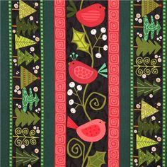 charcoal green red mistletoe bird Christmas tree stripe fabric Andover USA 1