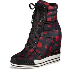Griffin Plaid Wedge Sneaker ($97) ❤ liked on Polyvore featuring shoes, sneakers, wedge trainers, lace up high top sneakers, wedge sneaker shoes, tartan shoes and lace up sneakers