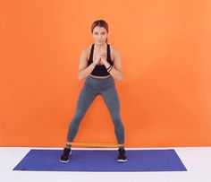 """Place the band around your ankles. Stand in a quarter-squat position (a shallower squat), with your feet about hip-width apart, hands at your chest or on your hips. Take a step to the right with your right foot, so that your feet are shoulder-width apart. Then, follow with your left so that your feet are hip-width apart again. Take three steps to the right, and then three back to the left. That's 1 rep. Do 20 reps. """"Try to keep your weight in the center, keep your core engaged, and keep…"""