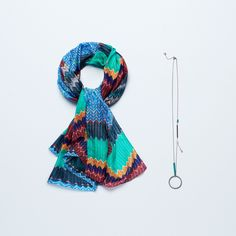 Campaign High Summer | Colorful | Scarf | Striped Print | Necklace | Blue | Green | Yellow | Red | Photography | inspired