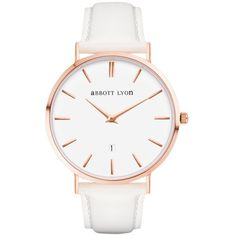 Abbott Lyon Women's White Dove Kensigton 40 Date Leather Strap Watch ($115) ❤ liked on Polyvore featuring jewelry, watches, rose watches, rose jewellery, white wrist watch, polish jewelry and white watches