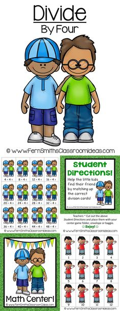 Quick and Easy to Prep Division Center Game Divide By Four Concept for Back to School with a Cute Kid Theme! #TPT $Paid