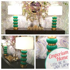 "Emporium Home | InterHall 202 The ""Luck be a Lady"" Lamp made with green glass and  satin brass finish would really look great as bedside lamps! #HPMKT"