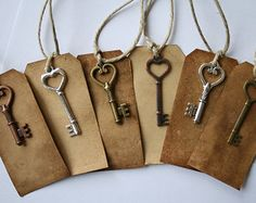 Handcrated Aged Wish Tags with Antique Key Charms