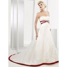 This is a really beautiful Wedding Gown, I love the touch of red they added to it (: