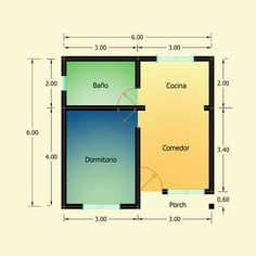 Planos de 1 Dormitorio – Constructora Sol del Plata Best House Plans, Small House Plans, Bar Chart, Home Goods, Floor Plans, How To Plan, Cool Stuff, Ideas, Sun