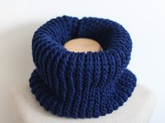 Navy infinity scarf vegan gift navy blue cowl knit by FawnAndFolly