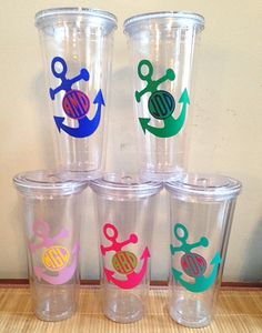 ~~~~~~~~~~~~~~~~~~~~~~~~~~~~~~~~~~~~~~~~~~~~~~~~~~~~~~~~~~~~~~~~~~~~  Monogram Anchor 20oz Tumbler ~ Set of 5    Great way to chill out with a nice