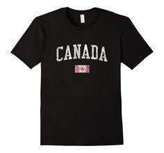 Canada T-Shirt Vintage Sports Design Canadian Flag Tee