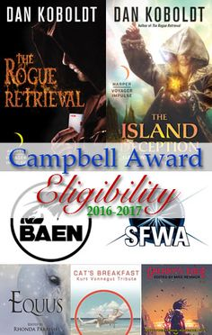The story of my Campbell eligibility: 2 novels, 4 stories, and a bunch of nonfiction articles.