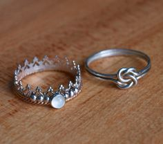 """Two Ring Set - $44.00USD Value - 30% OFF   Handmade Crown Ring with Moonstone Accent - Sterling silver gallery wire with 18 gauge goldfill rope edging.  Small joiner mark in the back of the band.  Bezel-set 4mm white moonstone accented by 3 """"beads"""" on either side.  Size 8.  Originally $26.00USD..."""