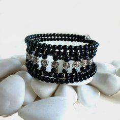 Black Bead Memory Wire Bracelet
