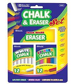 BAZIC 12 Color & 12 White Chalk w/ Eraser Set for School