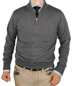 Fully fashioned for a superb fit. Luciano Natazzi Men Quarter Zip Mock Neck Sweater Cotton Cashmere Touch Slim Fit Charcoal