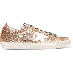 Golden Goose Deluxe Brand Super Star distressed glittered leather... ($430) ❤ liked on Polyvore featuring shoes, sneakers, gold, star shoes, leather lace up shoes, leather shoes, emerald green shoes and glitter sneakers
