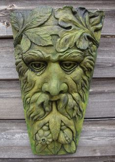 HARVEST GREEN MAN KEYSTONE GREENMAN PAGAN WICCAN WALL PLAQUE GARDEN ORNAMENT