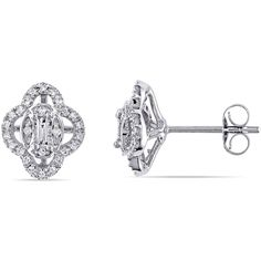 1 1/4 CT. T.W. Baguette White Diamond 10K Gold Stud Earrings (4,685 SAR) ❤ liked on Polyvore featuring jewelry, earrings, gold earrings, yellow gold stud earrings, gold jewellery, white gold diamond earrings and yellow gold jewelry