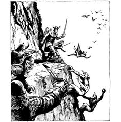 One of those days, stuck on a ledge between hobgoblins, trolls, and whatever that is swooping down from the sky (Jeff Easley, AD&D Greyhawk Adventures, TSR, 1988)