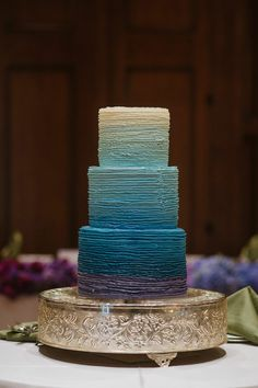 Ombre wedding cake from a Michelle Leo Events wedding.  Image by Heather Nan
