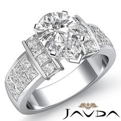 Huge Pear Diamond Comforting Engagement Ring GIA F VS2 Clarity Platinum 2.03 ct #Javda #SolitairewithAccents