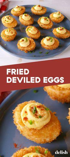 Chick Deviled Eggs Recipe, Devilled Eggs Recipe Best, Avocado Deviled Eggs, Bacon Deviled Eggs, Fried Boiled Eggs Recipe, Deep Fried Deviled Eggs, Fried Egg Recipes, Perfect Deviled Eggs, Gumbo