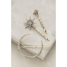 Anthropologie Stellar Hair Set ($48) ❤ liked on Polyvore featuring accessories, hair accessories and gold