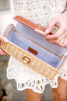 basket clutch with striped inside