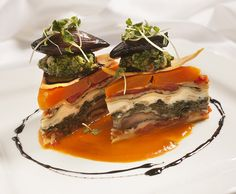 Butternut Squash & Portobello Mushroom Lasagna with pesto & balsamic shallots