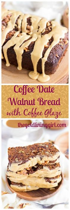 Coffee Date Walnut Bread with Coffee Glaze - The Gold Lining Girl The most rich and flavorful bread you'll ever taste! Loaded with coffee-soaked dates, walnuts, and a ton of spice, this moist and rich bread is bathed in a coffee glaze! Homemade Cake Recipes, Best Dessert Recipes, Coffee Recipes, Breakfast Recipes, Date Recipes, Eat Breakfast, Unique Recipes, Coffee Dessert, Dessert Bread
