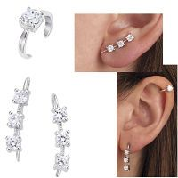 Sterling and CZ Ear Pins Plus Ear Cuff