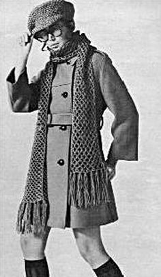 Cap and Scarf 1969 Crochet Pattern