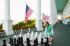 Playing a little game of chess after dinner at Grand Hotel.  #grandhotelmichigan #mackinacisland #chess #livehealthylivegrand #healthylifestyle #lifestyle #vacation #summerresort #bluecrossblueshield #recreation #activites #family #fun