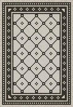 vinyl flooring Spicher and Company Vintage Vinyl Floor Cloths Mosaic A Rugs Crochet Motifs, Filet Crochet, Vinyl Floor Covering, Floor Cloth, Floor Mats, Tapestry Crochet, Vinyl Flooring, Mosaic Tiles, Diy Crafts