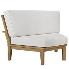 fun modern patio! Marina Outdoor Patio Teak Rounded Corner Sofa in Natural White | Contemporary Furniture Warehouse