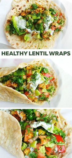 Delicious vegetarian lentil wraps! Flavorful and healthy dinner or lunch.
