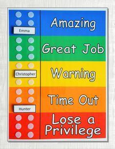Colorful Behavior Chart for Multiple Kids, 1 to 6 Custom Movable Name Pieces Positive Behavior Chart, Behavior Chart Preschool, Good Behavior Chart, Home Behavior Charts, Classroom Behavior Chart, Classroom Discipline, Behavior Plans, Behaviour Chart, Kids Behavior
